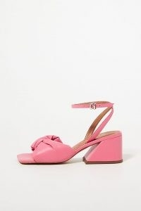 Vicenza Puffy Knotted Heeled Sandals Pink   womens retro chunky heel footwear   women's vintage style square toe summer shoes