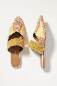Anthropologie Butterfly Embroidered Mules | bead embellished pointed toe flats | womens slip on flat shoes | women's beaded footwear