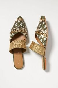 Anthropologie Tapestry Embroidered Mules Olive | women's green luxe style embellished point toe flats | womens chic summer slip on flat shoes