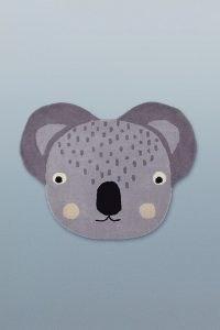 ANTHROPOLOGIE Kids Koala Rug Grey Motif ~ childrens cute animal bedroom rugs ~ children's home accessories