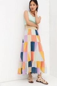 Anthropologie Patchwork Maxi Skirt | womens multicoloured summer skirts