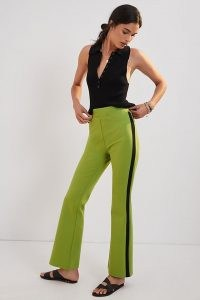 Maeve Ponte Flare Trousers Chartreuse / womens bright and stylish trousers