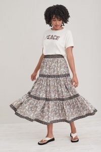 Anthropologie Tiered Poplin Maxi Skirt | floral tier hem cotton skirts