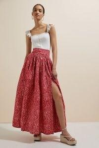 SIKA Mosaic Maxi Skirt Pink Combo | high split hem cotton skirts
