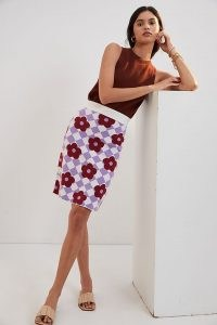 Maeve Knit Mini Skirt Purple Motif   floral knitted skirts   womens retro fashion   vintage style clothing