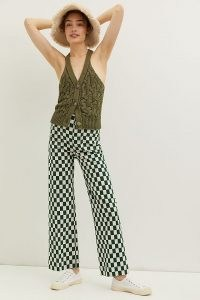 Maeve Colette Cropped Wide-Leg Trousers Green Motif   womens retro checked trousers