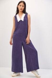 Maeve Wide-Leg Jumpsuit Navy / sleeveless blue spot print jumpsuits
