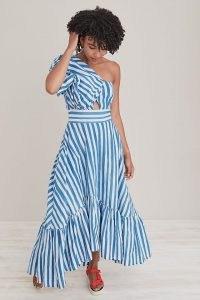 SIKA Beeko Stripe-Print Dress Blue Motif – striped one shoulder tiered hem maxi dresses