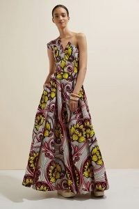 SIKA One-Shoulder Maxi Dress – one shoulder floral print fit and flare maxi dresses ~ statement occasion fashion