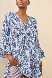 ANTHROPOLOGIE Breezy Sheer Tunic Blouse / paisley print ruffle trim blouses / frill trimmed tunics