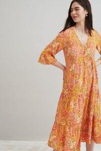Kachel Paisley Mia Midi Dress Orange / tiered summer dresses