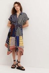 ANTHROPOLOGIE Contrast Midi Shirtdress / mixed print hankerchief hem shirt dresses