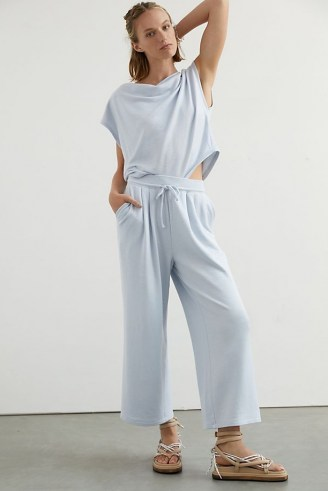 Daily Practice by Anthropologie Slouchy Set Sky / light blue loungewear sets / lounge top and trousers co ords - flipped