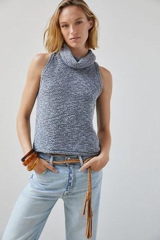 Pilcro Knit Turtleneck Tank / sleeveless slouchy neck jumpers / womens chic knitwear