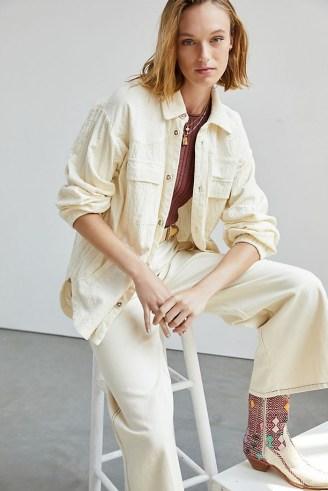 Maeve Corduroy Shirt Jacket Ivory / neutral curved hem shackets - flipped