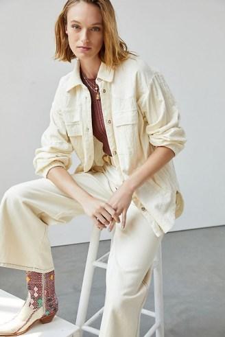 Maeve Corduroy Shirt Jacket Ivory / neutral curved hem shackets