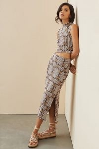 Anthropologie Jacquard Knit Skirt Set Grey Motif – womens knitted crop tops and skirts – women's printed fashion sets