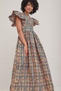 SIKA Luna Maxi Dress – printed cotton ruffle sleeve fit and flare dresses – geometric prints