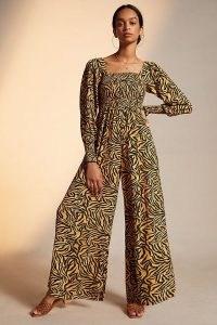 Kachel Tiger-Striped Jumpsuit – animal print wide leg jumpsuits – big cat prints