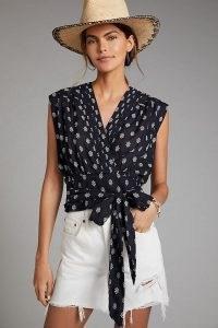 Anthropologie Tie-Waist Surplice Blouse – black printed cotton summer blouses