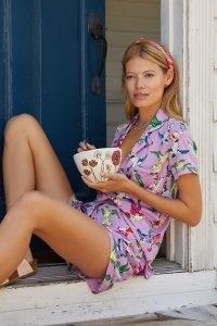 Anthropologie Whimsical Pyjama Set Lilac – womens printed PJ sets – bird print pyjamas – women's sleepwear – short sleeve top and shorts loungewear