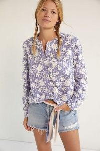 Pilcro The Whitney Trapeze Buttondown Shirt Blue – womens feminine floral shirts