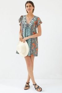 Anthropologie Ruffled Tunic Dress Blue Green – mixed print ruffle sleeve tunics – printed summer dresses