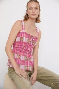 Pilcro Plaid Tank Pink Combo – checked cotton camisole tops