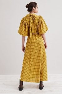 Selected Femme Checkie Ankle Dress in Maize / yellow checked bow back detail maxi dresses / voluminous balloon sleeve fashion