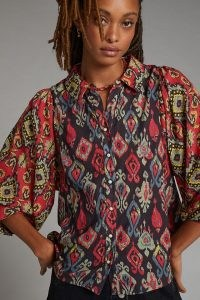 Forever That Girl Paisley Buttondown Shirt Red Motif / womens printed volume sleeve shirts