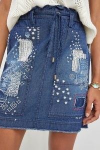 Pilcro Washed Denim Mini Skirt   casual blue embroidered skirts   womens distressed detail fashion