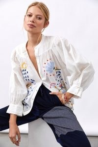 Maeve Puff-Sleeved Buttondown Shirt / womens white embroidered cotton shirts / floral and animal embroidery