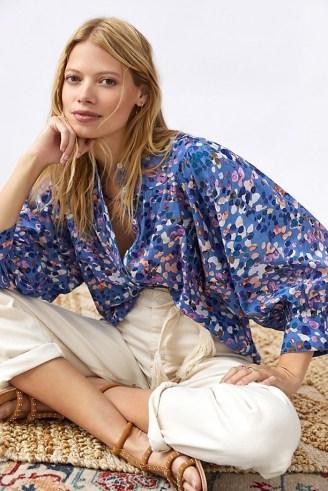 Maeve Puff-Sleeved Buttondown Shirt Blue Motif / spot print balloon sleeve shirts / splatter prints