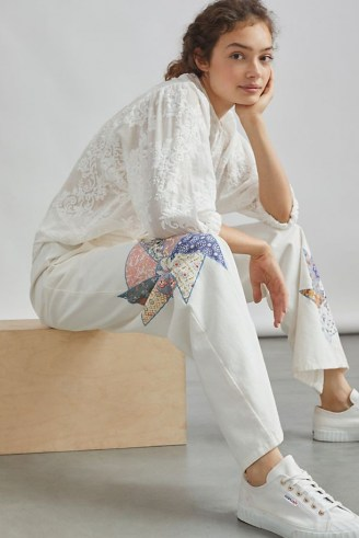Forever That Girl Quilted Patchwork Trousers / womens cotton floral detail trousers - flipped