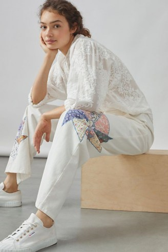 Forever That Girl Quilted Patchwork Trousers / womens cotton floral detail trousers
