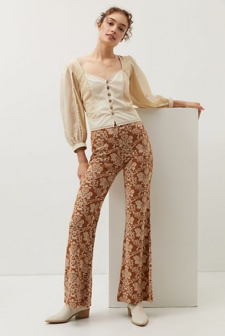 ANTHROPOLOGIE Knit Flare Trousers / retro floral pants - flipped