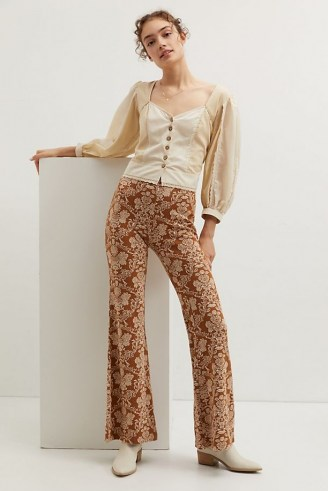 ANTHROPOLOGIE Knit Flare Trousers / retro floral pants