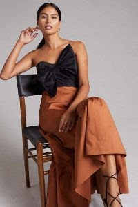 Hutch Colourblocked Bow-Tie Maxi Dress / strapless colour block occasion dresses