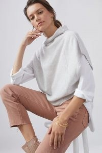 Pilcro Cowl Neck Cashmere Jumper Light Grey / luxe short sleeve jumpers / chic layering knitwear