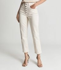 BAILEY MID RISE SLIM CROPPED JEANS OFF WHITE ~ womens chic denim crop hem trousers