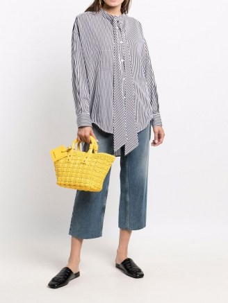 Balenciaga Bistro XS Basket faux leather tote in yellow / bright woven baskets / summer top handle bags - flipped