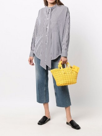 Balenciaga Bistro XS Basket faux leather tote in yellow / bright woven baskets / summer top handle bags