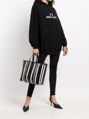 Balenciaga large Barbes East-West striped shopper tote black and white | chic monochrome shoppers | womens designer bags - flipped