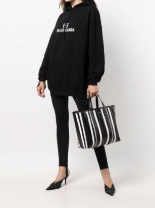 Balenciaga large Barbes East-West striped shopper tote black and white | chic monochrome shoppers | womens designer bags