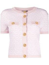 Taeyeon pink short sleeve knitted top, Interview on MMTG, Balmain monogram-jacquard cardigan, 8 July 2021 | celebrity fashion | star style knitwear