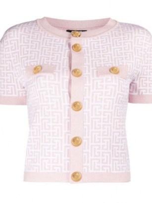 Taeyeon pink short sleeve knitted top, Interview on MMTG, Balmain monogram-jacquard cardigan, 8 July 2021 | celebrity fashion | star style knitwear - flipped