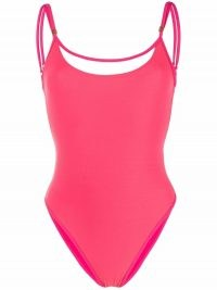 Balmain pink strap-detail swimsuit ~ womens strappy swimwear ~ women's designer swimsuits