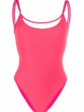 Balmain pink strap-detail swimsuit ~ womens strappy swimwear ~ women's designer swimsuits - flipped
