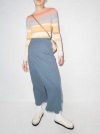 Baserange blue ribbed organic cotton midi skirt