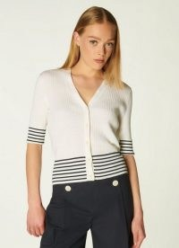 L.K. BENNETT BAY CREAM AND NAVY STRIPE COTTON CARDIGAN ~ striped nautical style button front cardigans ~ womens short sleeve summer cardi